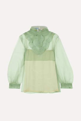 Prada Ruffled Organza Blouse - Mint