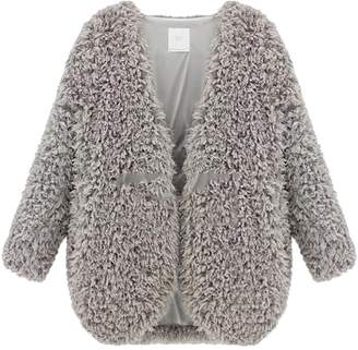 XiaoTianXin-women clothes XTX Womens Winter Warm Lamb Wool Open Front Short Cardigan XS