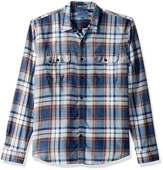 Lucky Brand Men's Casual Long Sleeve Indigo Plaid Workwear Button Down Shirt