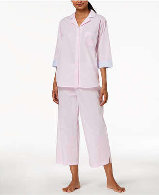 Miss Elaine Petite Striped Cropped Pajama Set