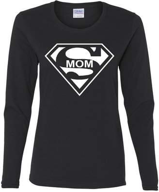 DAY Birger et Mikkelsen Tee Hunt Super Mom Funny Long Sleeve T-Shirt Superhero Parody Mother's L