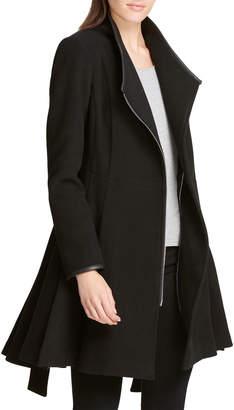 DKNY Asymmetric-Zip Fit-&-Flare Belted Jacket