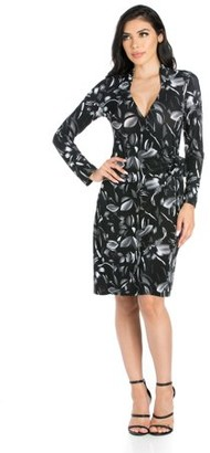 24/7 Comfort Apparel 24seven Comfort Apparel White On Black Floral Long Sleeve Wrap Dress
