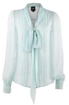 Marc Jacobs Runway Pleated Silk Tie-Front Blouse