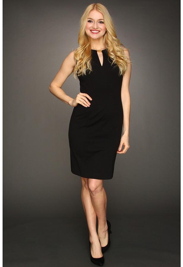 Calvin Klein Ponte Keyhole Shift Dress (Black) - Apparel