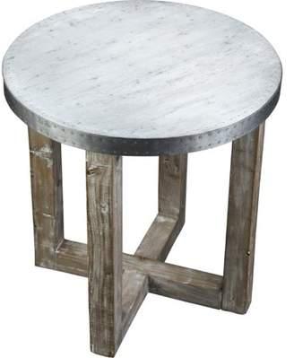 Boraam MH) Murray Side Table, White-Wash / Zinc Top