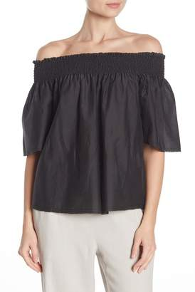 Go Silk Go by Go Off-the-Shoulder Smocked Silk Blouse