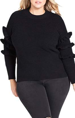City Chic Sweet Ruffle Sweater