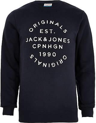River Island Jack and Jones Originals navy print sweatshirt