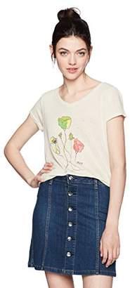 Obey Women's Simon's Flower Short Sleeve V Neck Graphic Tee