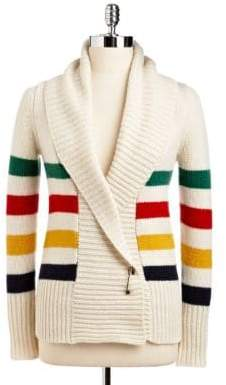 Hudson's Bay Company Multi Stripe Wool-Blend Wrap Cardigan