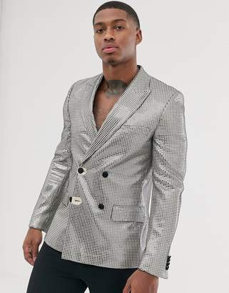 Asos Design DESIGN slim double breasted blazer in stitch detail silver sequin