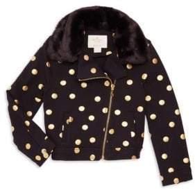 Kate Spade Little Girl's Dot Faux Fur Moto Jacket