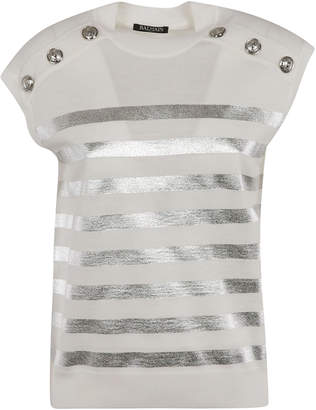 Balmain Stripe Studded Top