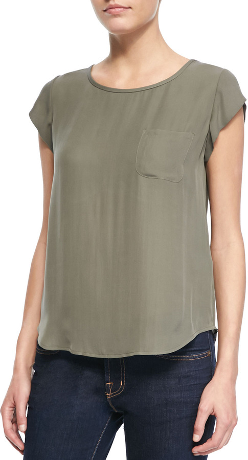 Joie Rancher Cap-Sleeve Pocket Blouse, Fatigue