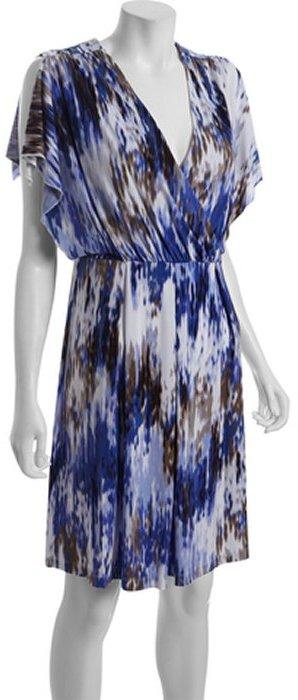 Calvin Klein blue printed jersey split sleeve dress