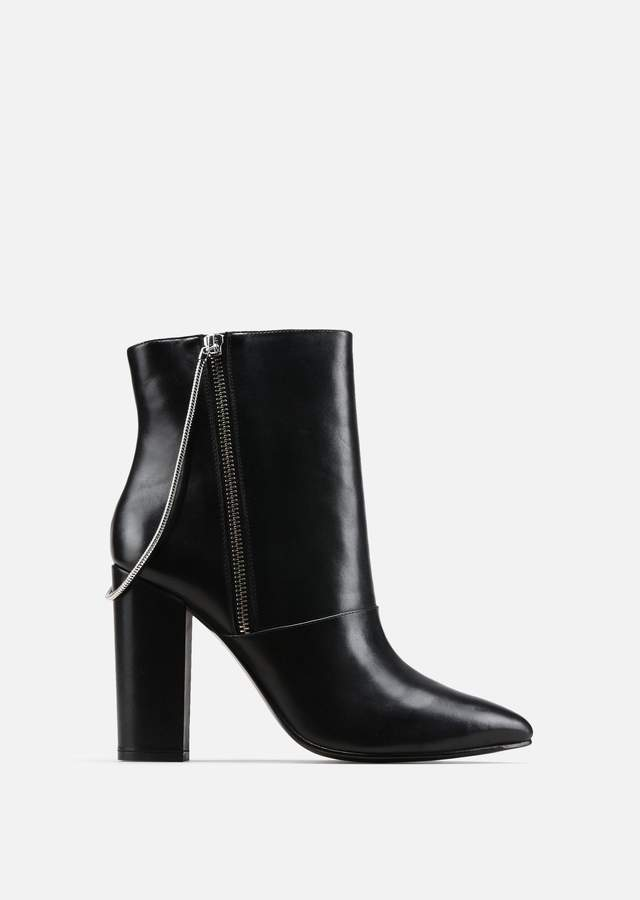 EMPORIO ARMANI leather ankle boots with wide heel