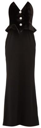 Alessandra Rich Strapless Velvet And Wool Blend Peplum Dress - Womens - Black