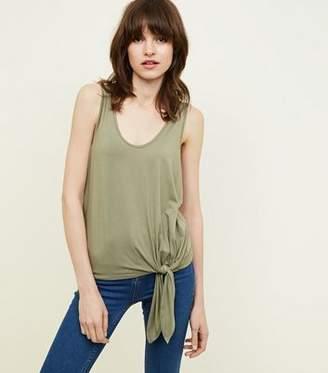 New Look Olive Green Tie Side Vest