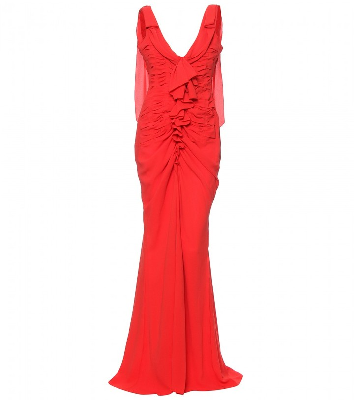 Nina Ricci SILK RUFFLED EVENING GOWN
