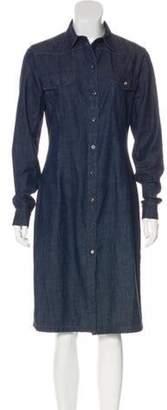 Prada Long Sleeve Denim Dress blue Long Sleeve Denim Dress