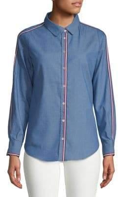 Racer Stripe Chambray Button-Down Shirt
