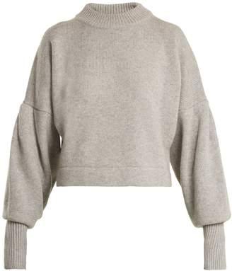 Tibi Pleated-sleeve cropped sweater