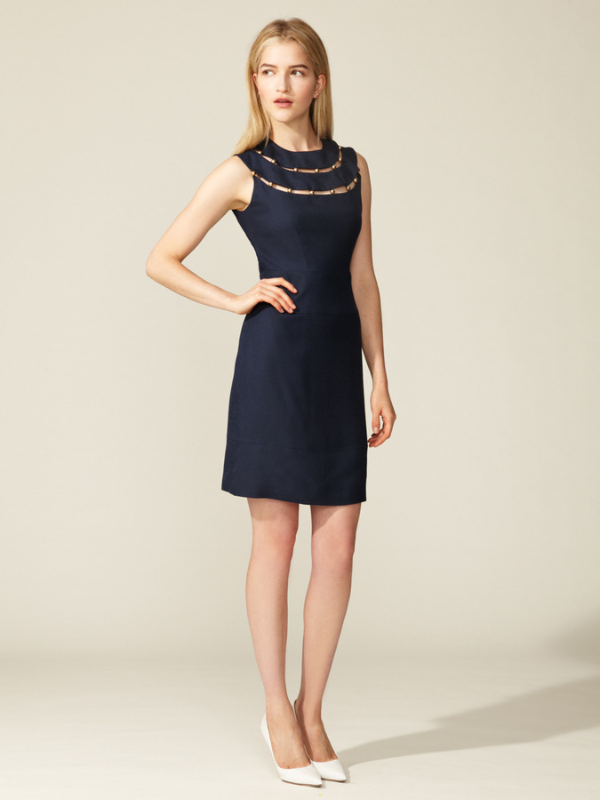 Peter Som Woven Cut-Out Beaded Dress
