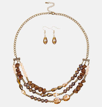 Avenue Multi Bronze Necklace and Earring Set