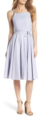 Gal Meets Glam Caroline Linen Blend Fit & Flare Dress