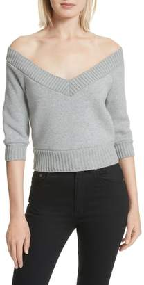 Alexander Wang Dense Off the Shoulder V-Neck Fleece Sweater
