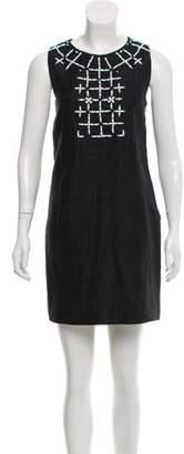 Emilio Pucci Embellished Halter Linen Work Dress