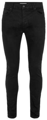 Topman Mens Black Oil Coated Stretch Skinny Jeans