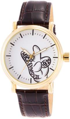 Disney Mickey Mouse Men's Brown Leather Watch