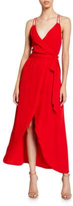 Alice + Olivia Susana Multi-Strap Mock-Wrap Midi Dress