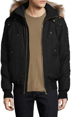 Moose Knuckles Men's Red Deer Cotton Bomber Jacket with Fox Fur