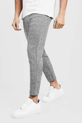 boohoo Dele Tapered Fit Trouser In Grey Windowpane Check