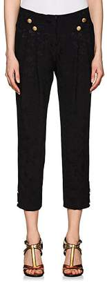 Maison Mayle Women's Button-Detailed Floral Silk Jacquard Pants