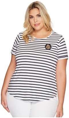 Lauren Ralph Lauren Plus Size Bullion-Patch Striped T-Shirt Women's T Shirt