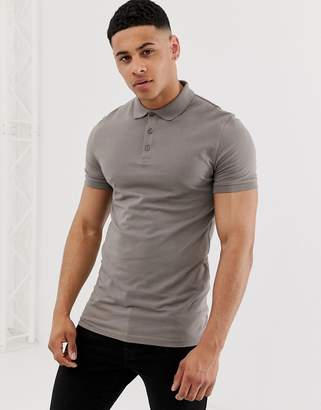 a04d58ca BEIGE Asos Design ASOS DESIGN muscle fit with stretch polo in jersey in