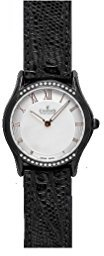 Charmex Cannes 6335 30 mmステンレススチールCase Black Calfskin Synthetic Sapphire Women 's Watch