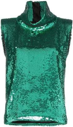 Halpern sleeveless sequin embellished turtleneck T-shirt