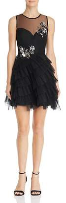 BCBGMAXAZRIA Eve Embellished Illusion Dress