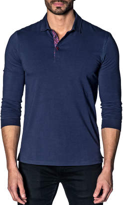 Jared Lang Men's Long-Sleeve Knit Polo Shirt