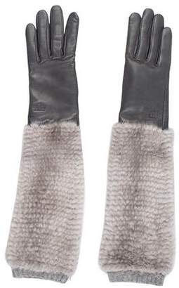 Gucci Leather Fur-Trimmed Gloves w/ Tags