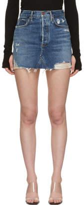 A Gold E Agolde Blue Quinn Hi-Rise Miniskirt
