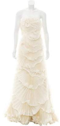 Marchesa Ruffled Silk Wedding Gown