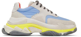 Balenciaga Grey and Blue Triple S Sneakers