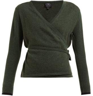 Pepper & Mayne - Wrap Cashmere And Wool Blend Cardigan - Womens - Dark Green