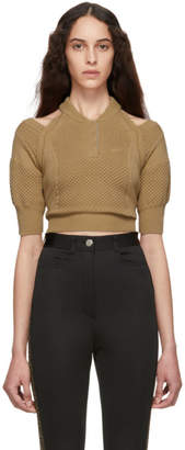 Fendi Tan Knit Short Sleeve Sweater
